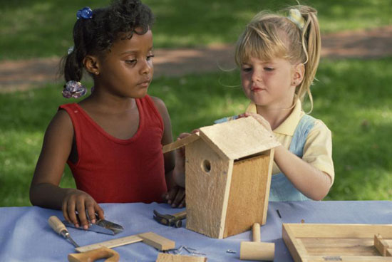 Children Making a Birdhouse
